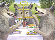 Whimsy Framed Prints - Wolves Tea Party Framed Print by Catherine G McElroy