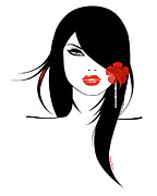 Red Lipstick Art - Woman 4 by Cheryl Young