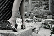 High Heeled Photo Prints - Woman among Remains of an Ancient Temple Print by Oleksiy Maksymenko