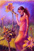 Women Pastels Posters - Woman Among the Sunflowers Poster by Ellen Dreibelbis