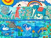 Elephant Paintings - Woman and Blue Elephant beside the Lake by Sushila Burgess