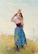 Woman In Summer Meadow Posters - Woman and Child in a Meadow Poster by Hector Caffieri