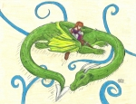 Serpentine Drawings Prints - Woman and Dragon warriors sleeping Print by Sabrina Bianchi