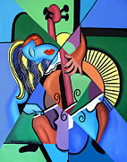 Cubism Posters - Woman And Her Chelo Poster by Anthony Falbo