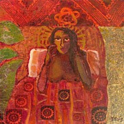 Primitive Posters - Woman and quilt Poster by Yulonda Rios