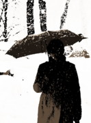 Umbrella Pyrography Posters - Woman and rain Poster by Yury Bashkin