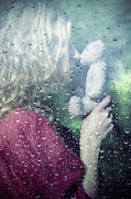 Raindrop Prints - Woman And Teddy Print by Joana Kruse