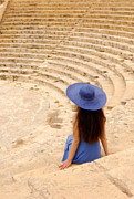Ancient Greek Ruins Prints - Woman at Greco-Roman Theatre at Kourion Archaeological Site in C Print by Oleksiy Maksymenko