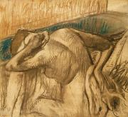 Pastel Chalk Prints - Woman at her Toilet Print by Edgar Degas