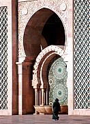 Africa Mixed Media Prints - Woman at Mosque Casablanca Print by Linda  Parker