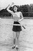 Racket Framed Prints - Woman At Tennis Court Framed Print by George Marks