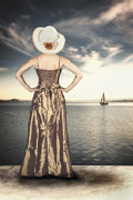 Straw Hat Posters - Woman At The Lake Poster by Joana Kruse