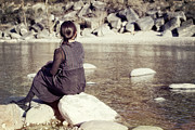 Female Framed Prints - Woman At The River Framed Print by Joana Kruse