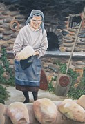 Loaf Of Bread Painting Posters - Woman Baking Bread  Poster by Anna Poelstra Traga