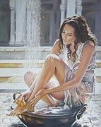 Bathing Paintings - Woman Bathing by Andy Lloyd