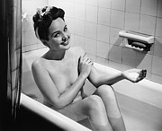 Domestic Bathroom Posters - Woman Bathing, (b&w), Portrait Poster by George Marks