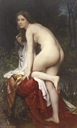Woman Bathing Paintings - Woman Bathing by  William Adolphe Bouguereau