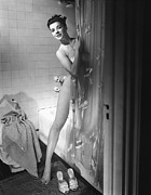 Domestic Bathroom Framed Prints - Woman Behind Shower Curtain Framed Print by George Marks