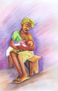 Breastfeeding Paintings - Woman Breastfeeding Bay in Rwanda by Emmanuel Baliyanga
