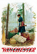 Camping Paintings - Woman Camper by Unknown