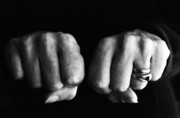 Human Hands Prints - Woman clenching two hands into fists in a fit of aggression Print by Sami Sarkis