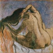 Degas Paintings - Woman Combing her Hair by Edgar Degas