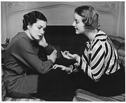 Consoling Framed Prints - Woman Consoling Friend At Fireplace, (b&w) Framed Print by George Marks