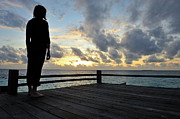 40-44 Years Prints - Woman contemplating the sunrise Print by Sami Sarkis