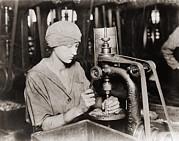 Woman Countersinking A Detonator Tube Print by Everett