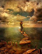 Stepping Stones Photo Prints - Woman Crossing the Sea on Stepping Stones Print by Jill Battaglia