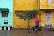 Cycling Photos - Woman Cycling In Street by Claude Renault