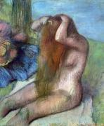 Nudity Photo Metal Prints - Woman doing her Hair Metal Print by Edgar Degas