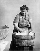 Hair-washing Photo Prints - Woman Doing Laundry In Wooden Tub Print by Everett