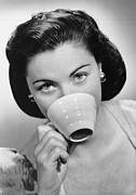Coffee Drinking Metal Prints - Woman Drinking From Cup Metal Print by George Marks