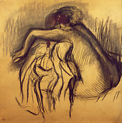 Signed Drawings - Woman Drying by Edgar Degas