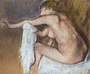 Breasts Pastels Prints - Woman Drying her Arm Print by Edgar Degas