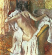 After The Bath Pastels Posters - Woman drying herself Poster by Edgar Degas