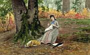 Needlework Framed Prints - Woman Embroidering Under a Tree  Framed Print by John M Tracy