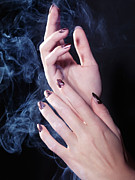 Woman Hands In A Cloud Of Smoke Print by Oleksiy Maksymenko