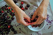 Healthy Eating Art - Woman hands preparing Cherry jam by Sami Sarkis