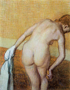 Bathing Paintings - Woman Having a Bath by Edgar Degas