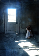 Shining Down Prints - Woman Hiding in Abandoned Room Print by Jill Battaglia