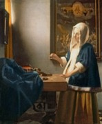 Money Paintings - Woman Holding a Balance by Jan Vermeer