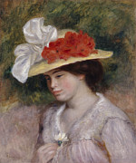 Hand In Hair Posters - Woman in a Flowered Hat Poster by Pierre Auguste Renoir