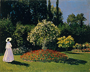 Impressionistic Paintings - Woman in a Garden by Extrospection Art