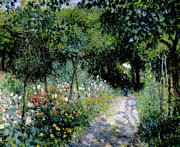 Pathways Painting Framed Prints - Woman in a Garden Framed Print by Pierre Auguste Renoir
