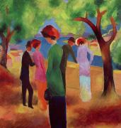 Woman In Tree Posters - Woman in a Green Jacket Poster by August Macke