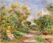 Background Paintings - Woman in a Landscape by Renoir
