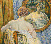 Intimate Painting Framed Prints - Woman in a Mirror Framed Print by Theo van Rysselberghe