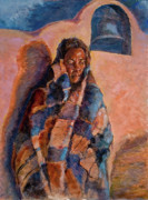 Hispanic Posters - Woman in a Serape Poster by Ellen Dreibelbis